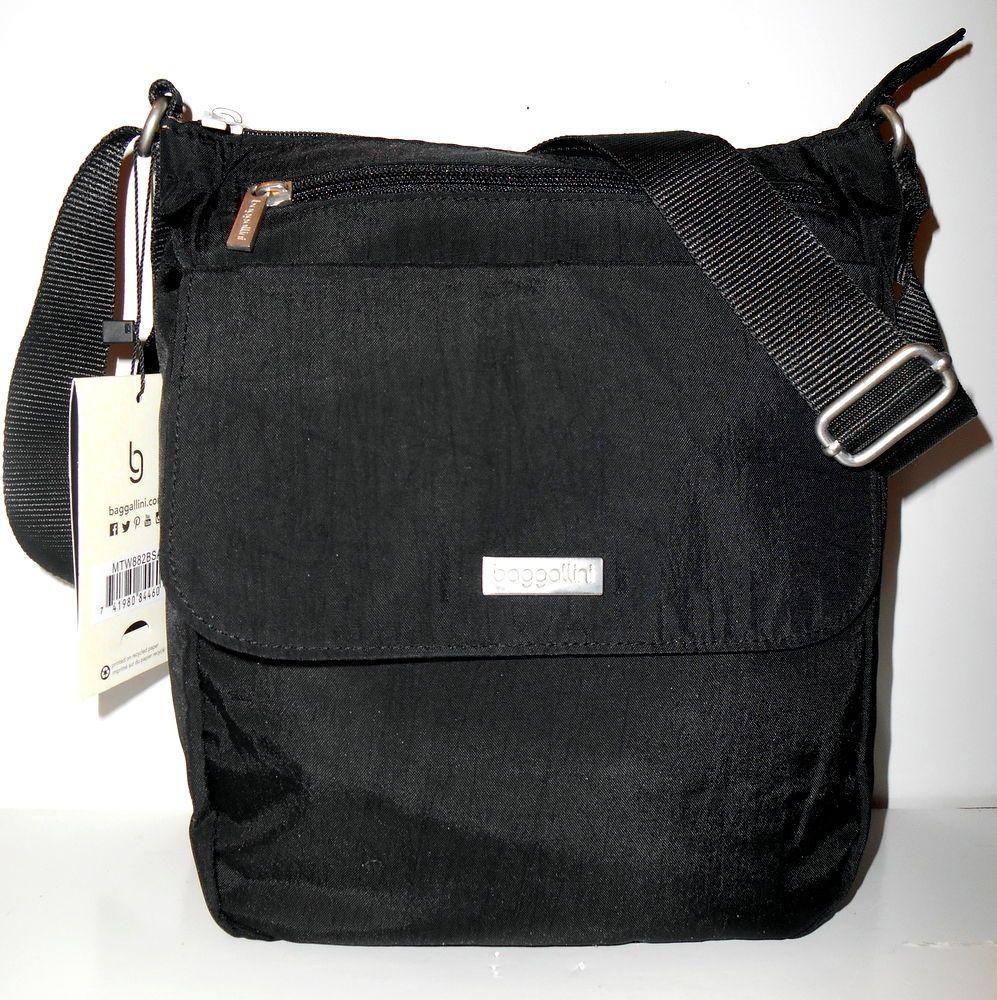 acd11f97a7 BAGGALLINI TOWN BAGG Black Crossbody  NEW  Shoulder Bag Front Pockets Vegan  NWT  Baggallini  CrossBody