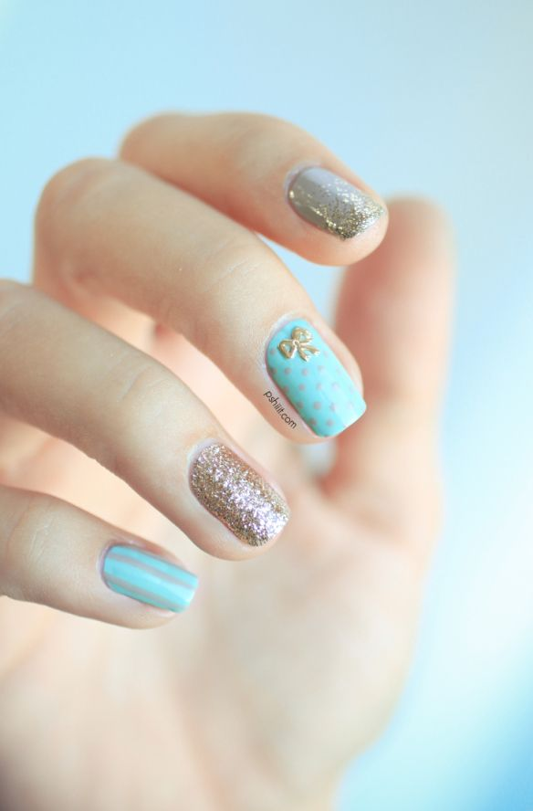 L Simply Stunning Aqua An Gold Sparkle Nail Designs Stripes Polka Dots And Even A Bow Love This Blog Pshiiit French Khroma Polish