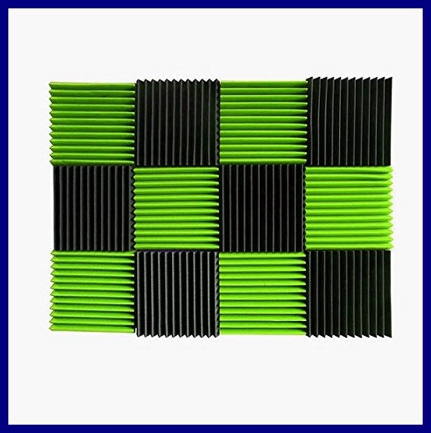 Acoustic Wall Panels Green Charcoal Foam Wedges Sound Proof Studio Home 12 Pack Izoallsupply Sound Proofing Foam Tiles Foam Panels