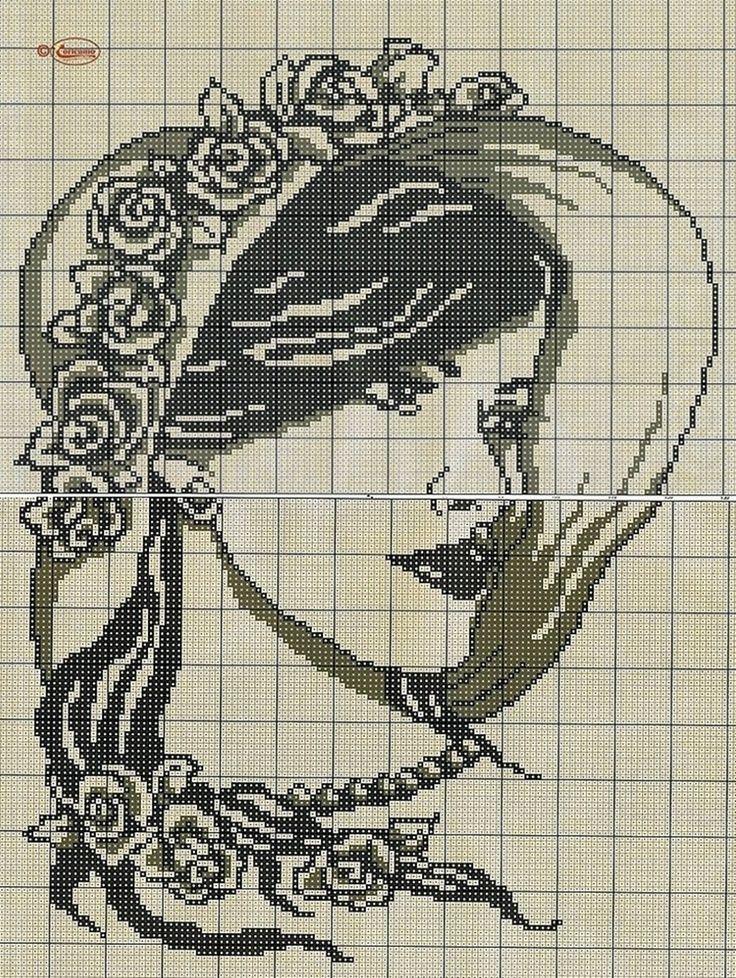 point de croix visage de femme romantique chapeau à fleurs ...