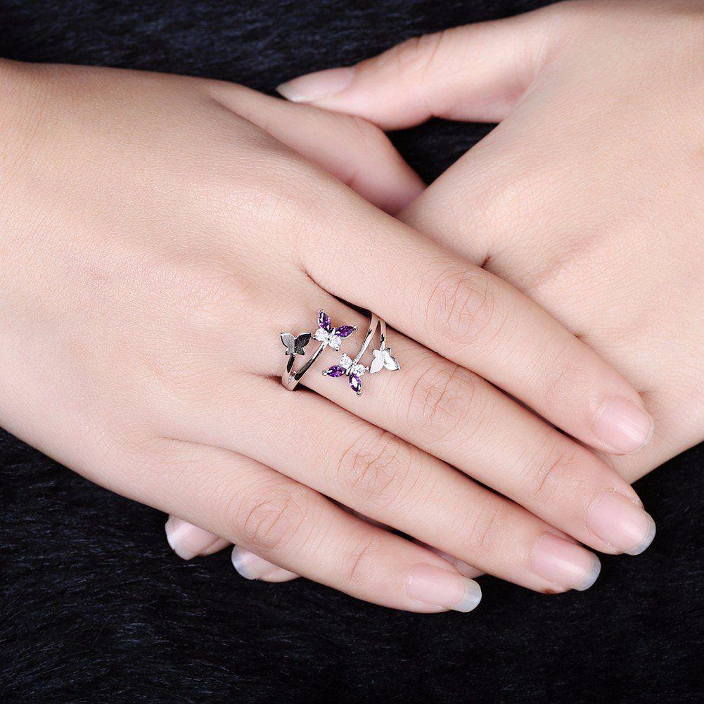 Sweet Adjustable Ring Purple Zircon Butterfly Women Ring | Butterfly ...