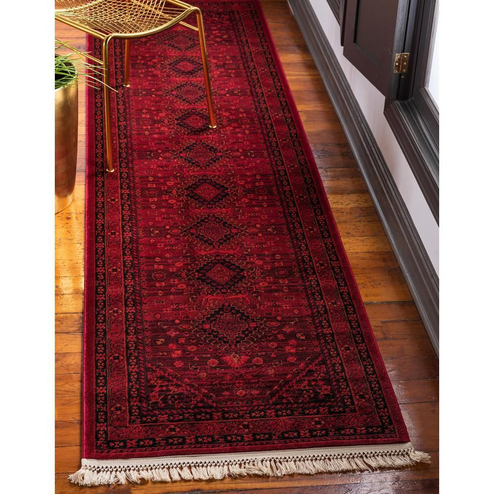 Unique Loom Tekke Lincoln Red 2 7 X 10 0 Runner Rug 3126443 The Home Depot Red Oriental Rug Red Rugs Area Rugs
