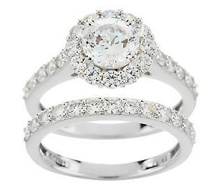 Epiphany Diamonique 100 Facet 2 90 Ct Tw 2 Pc Ring Set Qvc Com Halo Engagement Ring Band Halo Diamond Engagement Ring Wedding Ring Bands Set