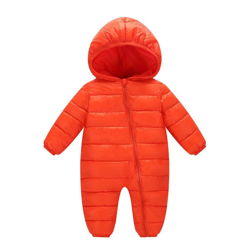 Newborn Baby Girl Jumpsuit Cartoon Fox Snowsuit Warm Hooded Romper Jumpsuit Winter Long Sleeve Pajamas Coat