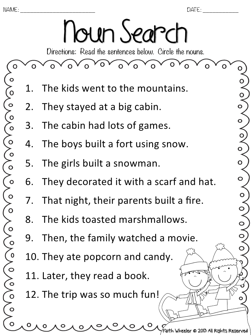 Snow Kid Freebies Pdf Google Drive 2nd Grade Worksheets 1st Grade Worksheets Nouns Worksheet