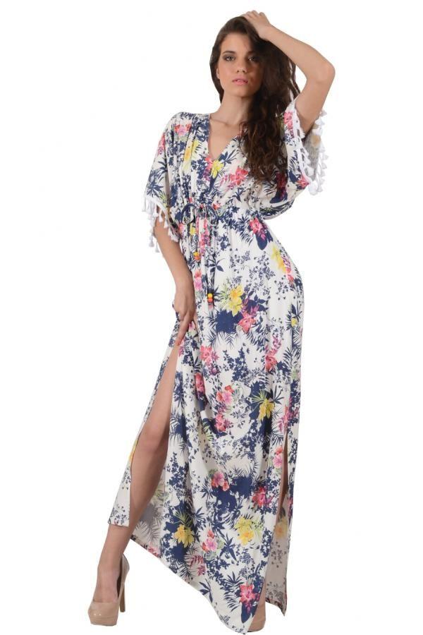 Φόρεμα καφτάνι εμπριμέ μακρύ σε ριχτή γραμμή με δέσιμο στο στήθος και στην  μέση και διακοσμητική τρέσα στα μανίκια beaade3001c