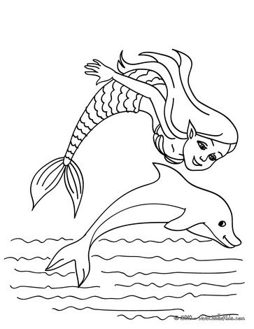 Mermaid with a dolphin coloring page - Mermaid and sea ...