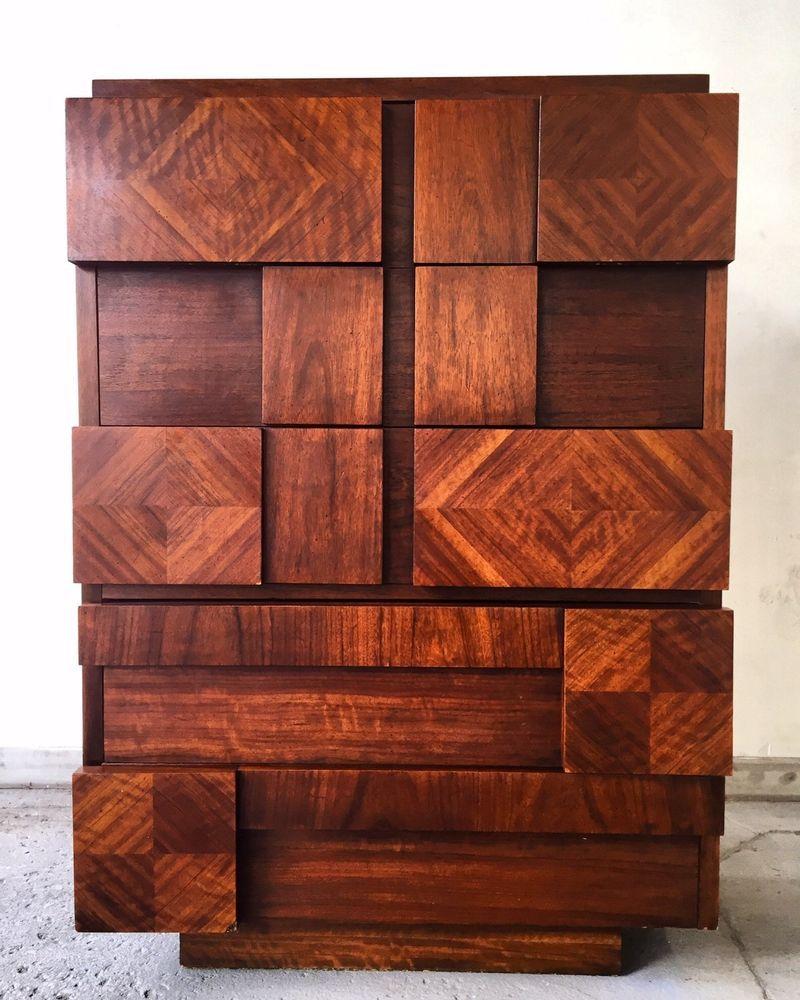 Best Vintage Mcm Lane Brutalist Chest Of Drawers Tall Dresser 400 x 300