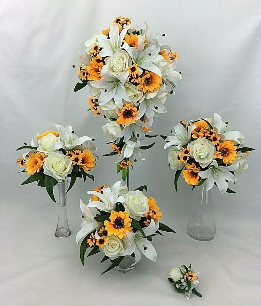 Hand Tied Artificial Flower Sunflowers Roses Lilies Teardrop Wedding Bouquet Set Cintahomedeco In 2020 Wedding Bouquets Sets Rose And Lily Bouquet Bridal Bouquet Sets