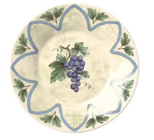 Pfaltzgraff Merlot Salad Plate by Pfaltzgraff. $11.00. Salad plate, suitable for bread, dessert, and snacks. Dishwasher, microwave and freezer safe. Grapevine theme with arches in blue and purple on neutral glaze; complements Merlot dinnerware collection. Durable earthenware. 3-year warranty against defects; made in the USA. Amazon.com                Evoking a bountiful harvest, the succulent grape cluster on a leafy vine is the focus of this charming salad plate. Perfect wi...