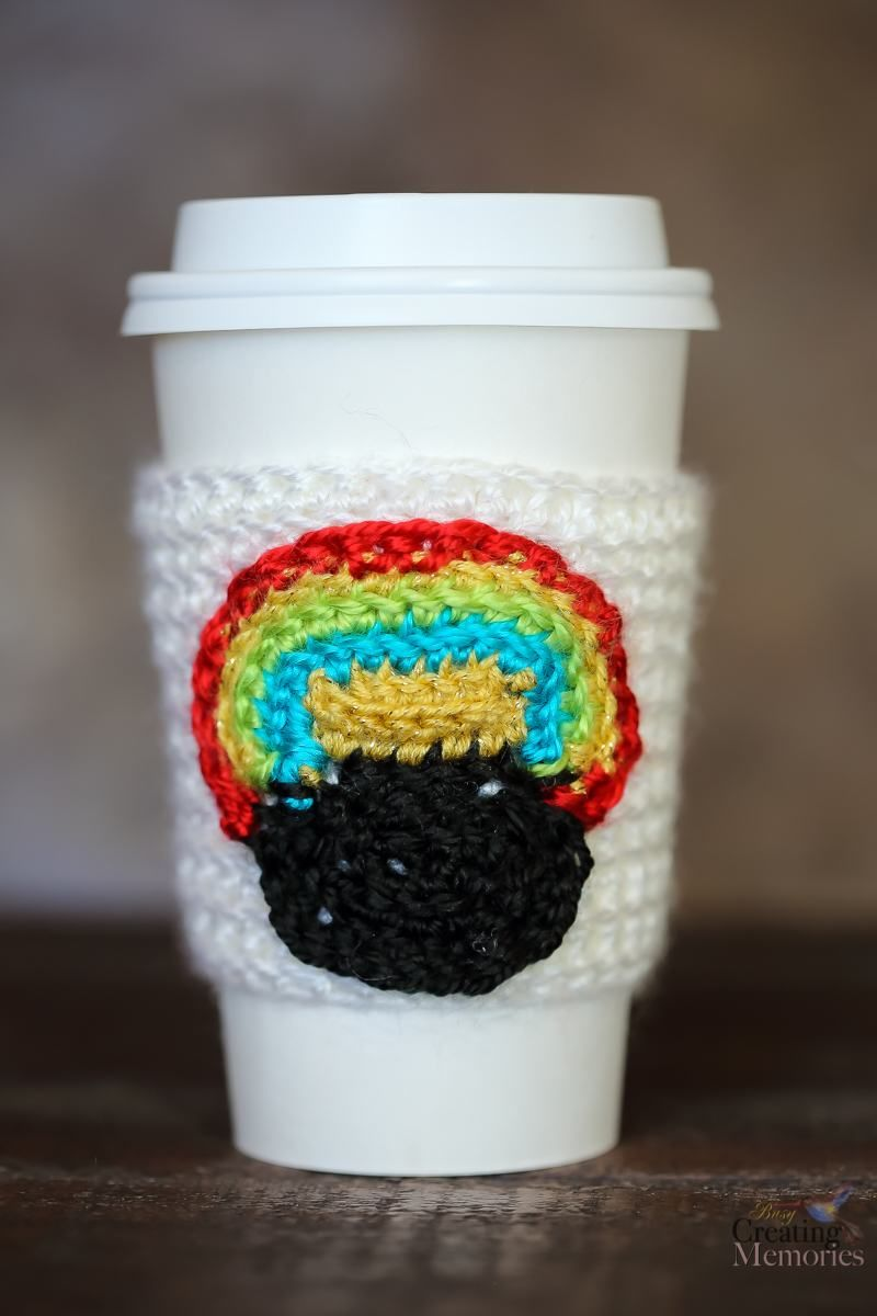 Pot of Gold Crochet Cup Cozy for a Starbucks Grande Cup