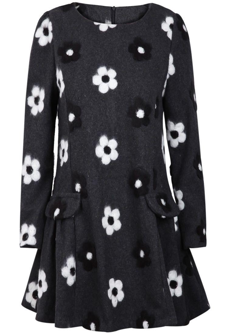 Grey long sleeve flower pattern ruffle dress us sheinside