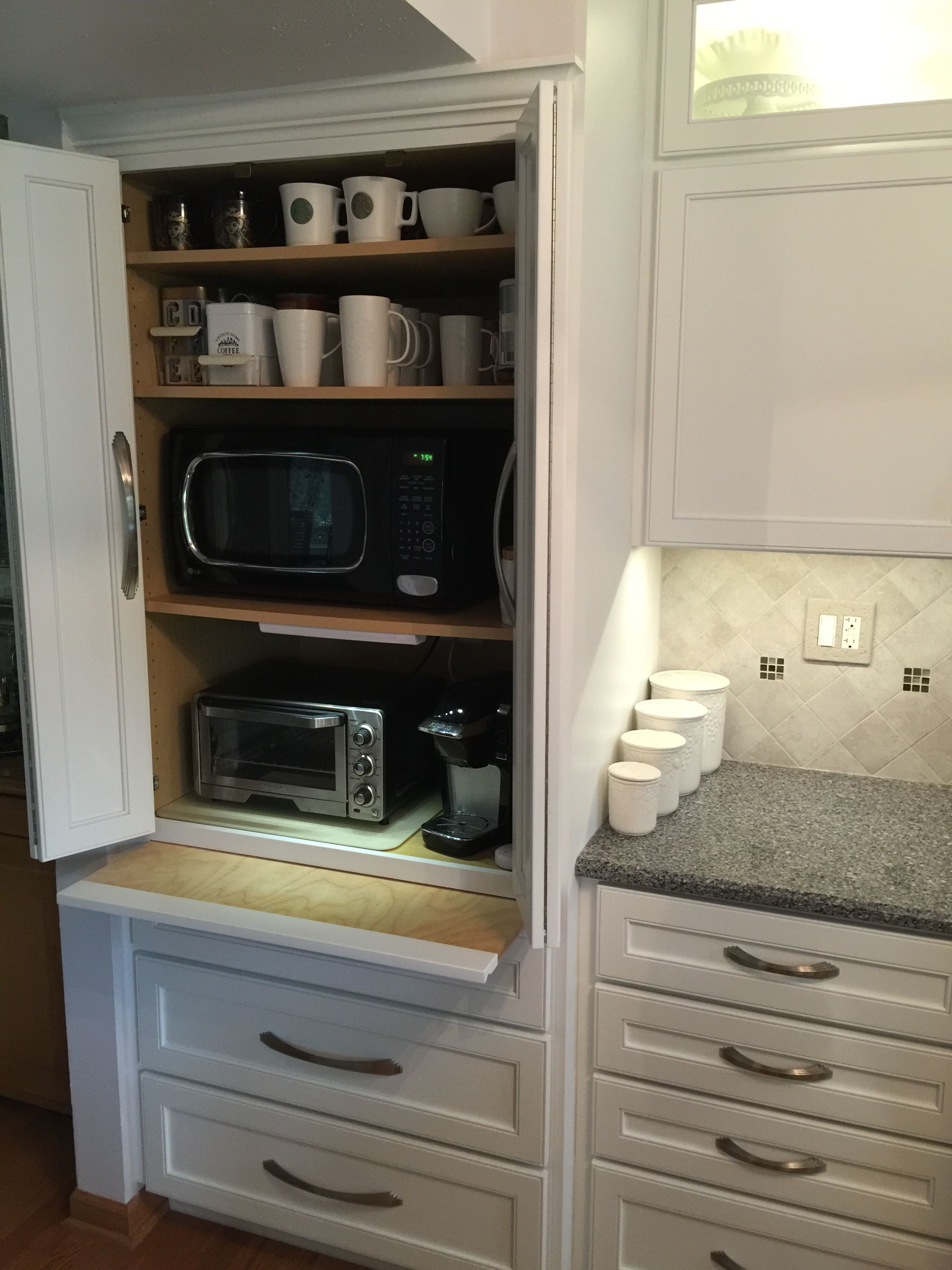 No Counter Clutter Appliance Cabinet Microwave Toaster Oven Coffee Maker Small Appliance Storag Appliances Storage Microwave Toaster Oven Kitchen Storage