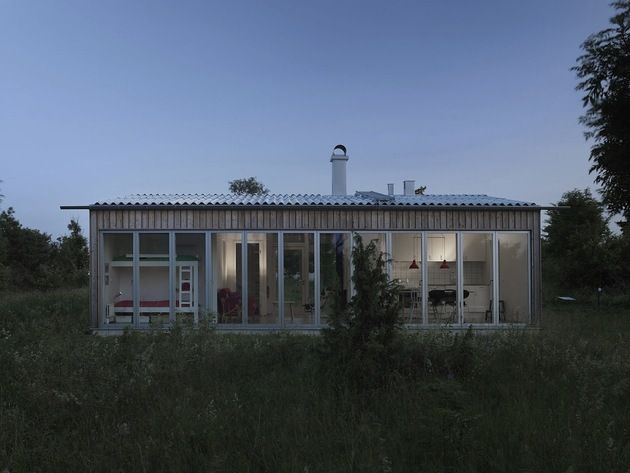 Small Swedish House Made From Boards And Corrugated Metal ...