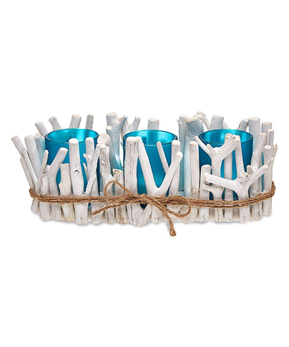 White & Aqua Drift Wood & Glass Three-Candleholder ...