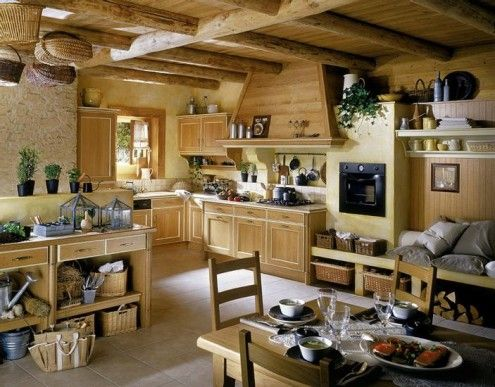 French Country Kitchen Love the baskets hanging from the beams
