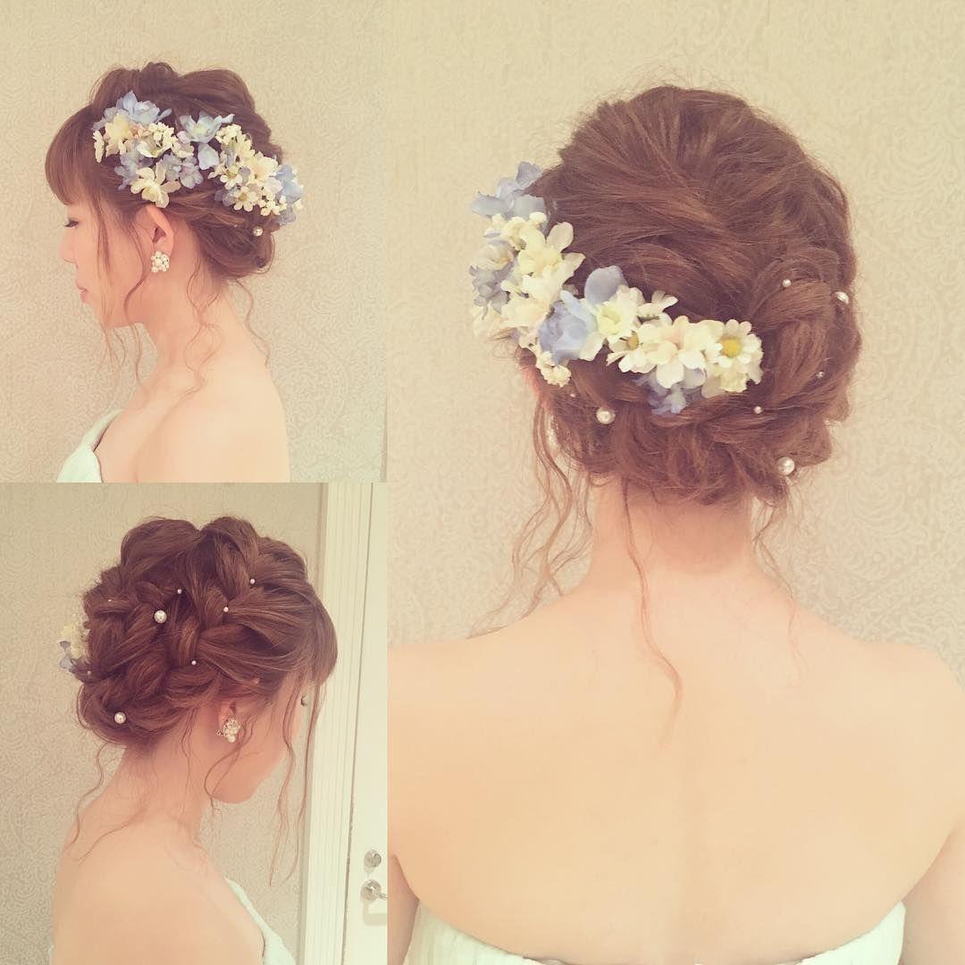 おくれ毛 編み込みヘア Wedding 花嫁 ヘアメイク ヘアセット