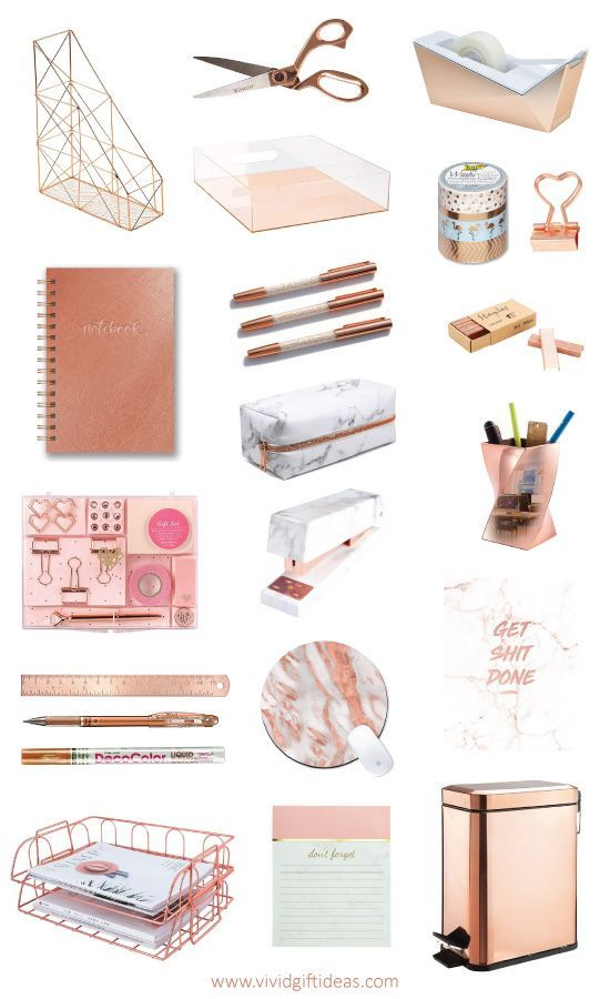 9 Gorgeous Rose Gold Office Supplies & Office Accessories | Gold ...