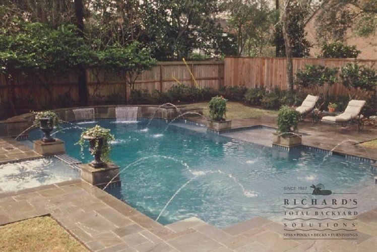 richards total backyard solutions builds water features in houston for your pool or spa - Rectangle Pool With Water Feature