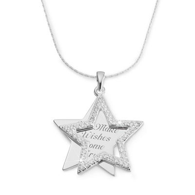 Personalized CZ Star Necklace With Free Keepsake Box, Add Your Message