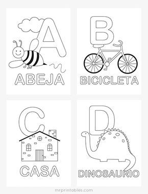 Spanish Alphabet Coloring Pages Free Printables At Mrprintables Com Spanish Alphabet Activities Alphabet Worksheets Kindergarten Spanish Alphabet