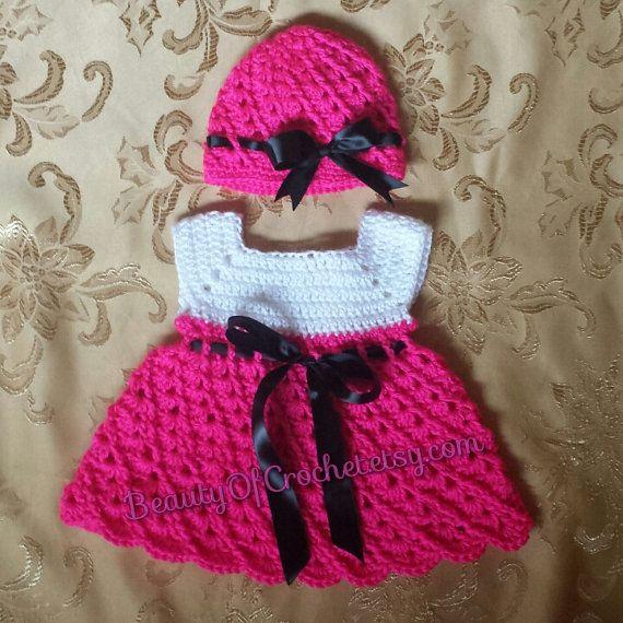 Baby girl dress and hat. Crochet baby girl set. newborn set. Digital ...