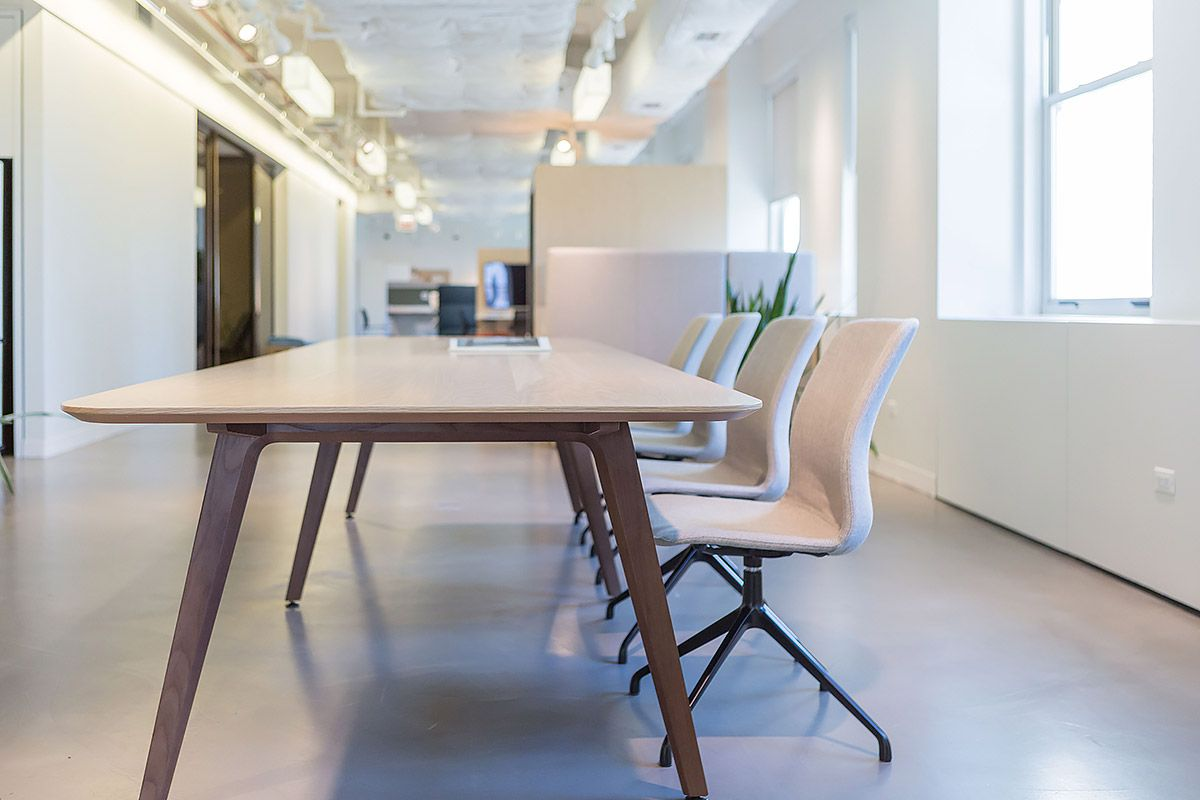NeoCon 2017   Area 18  Eleven Wood Library Table with Harpin Seating   OFS  Brands. NeoCon 2017   Area 18  Eleven Wood Library Table with Harpin