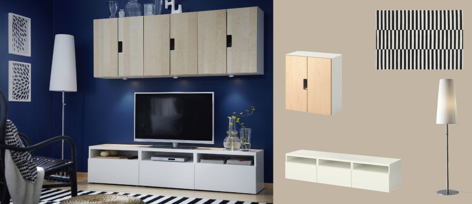 Mueble de tv best blanco con cajones y armarios de pared for Armario abedul
