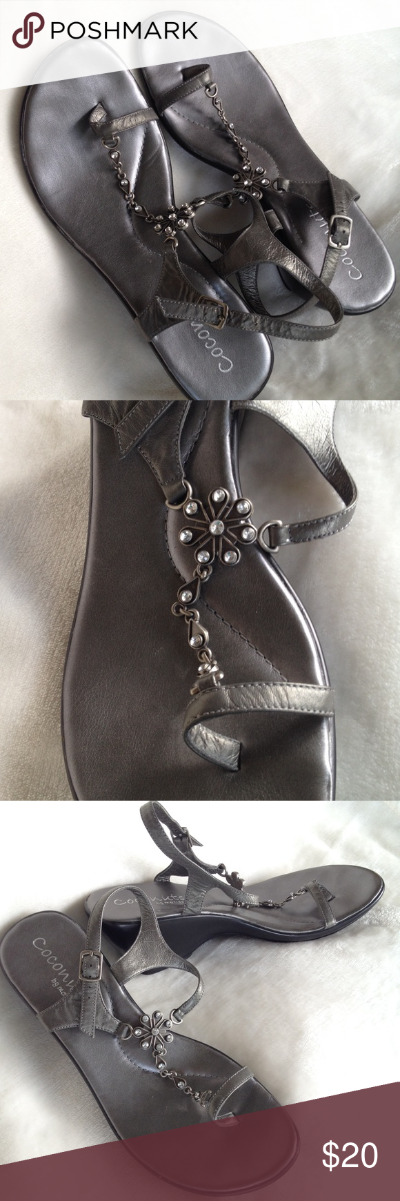 Coconuts by matisse - Size 11 These fun sandals are made with a leather upper. They are in excellent shape.  The color is a gunmetal gray. Coconuts Shoes Sandals