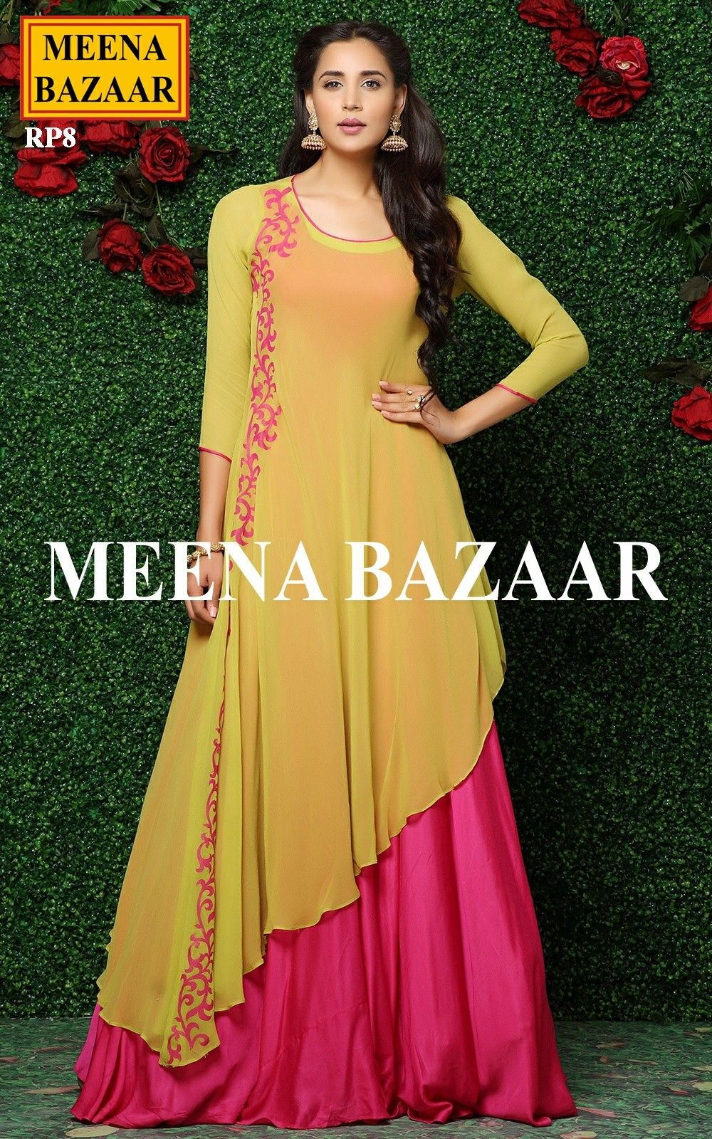 1767321981 Pink Applique Work Gown @ MeenaBazaar | Dress patterns | Indian ...