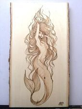 plaque  Personalized Pyrography  Wood Burning Art  Natural Bark Border  13x7 Mermaid plaque  Personalized Pyrography  Wood Burning Art  Natural Bark Border  13x7