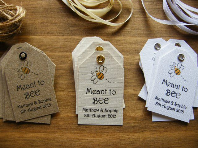 Personalised Wedding Favour Honey Jar Meant To Bee Produce Tags Vintage