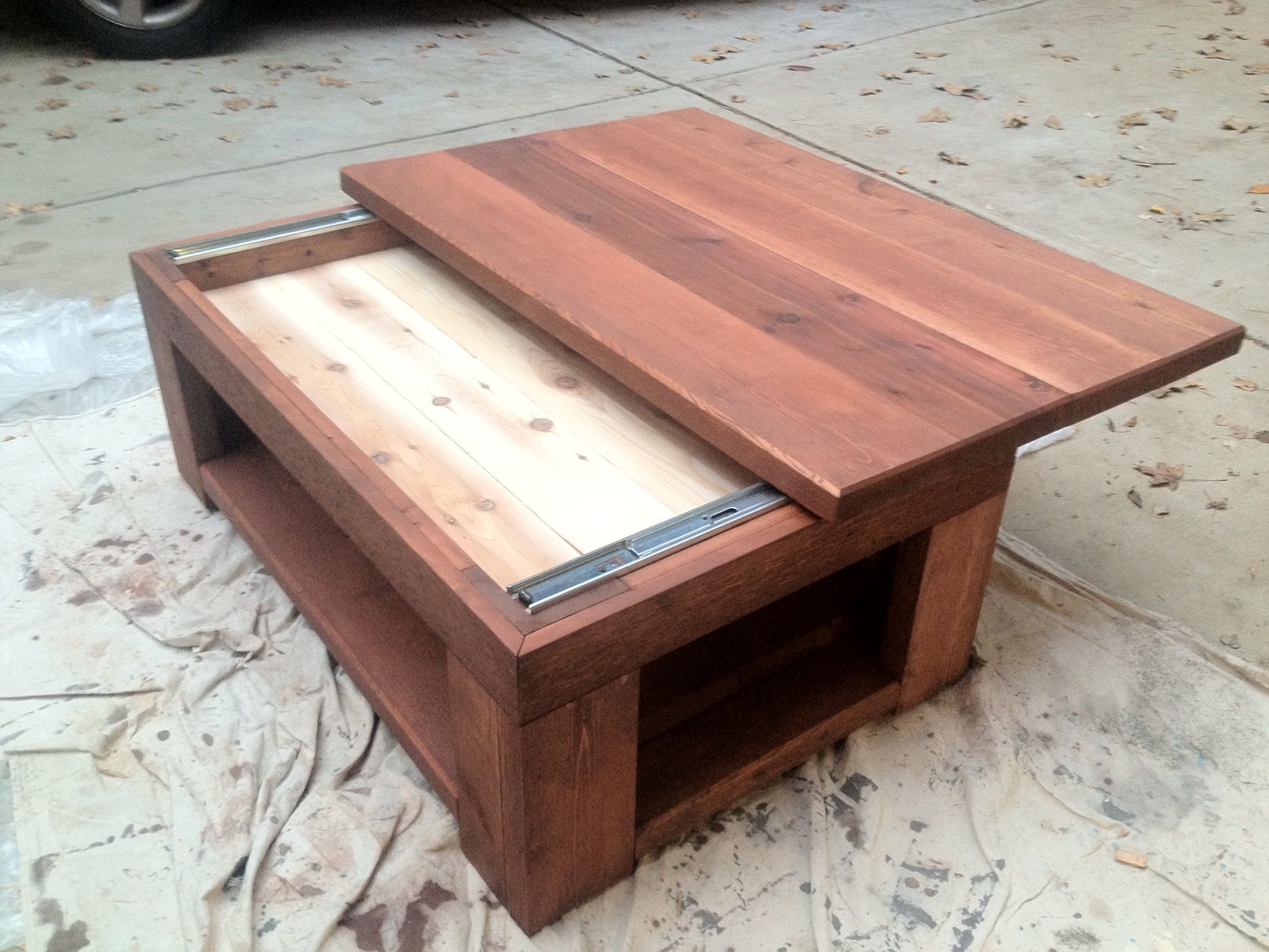 cedar coffee table with a sliding top custom builds