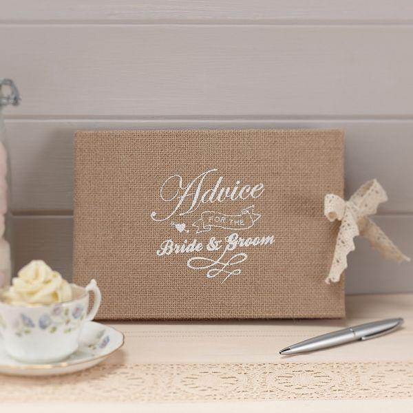 """Hochzeitsalben - Gästealbum """"Advice"""" im Vintagelook Jute Gästebuch - ein Designerstück von Lolima-Shop bei DaWanda"""