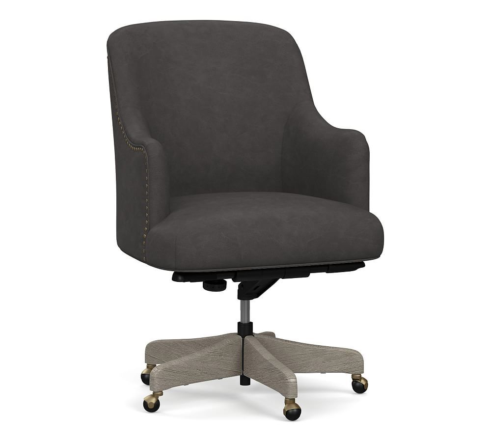 Reeves Leather Swivel Desk Chair, Gray Wash Frame, Vintage