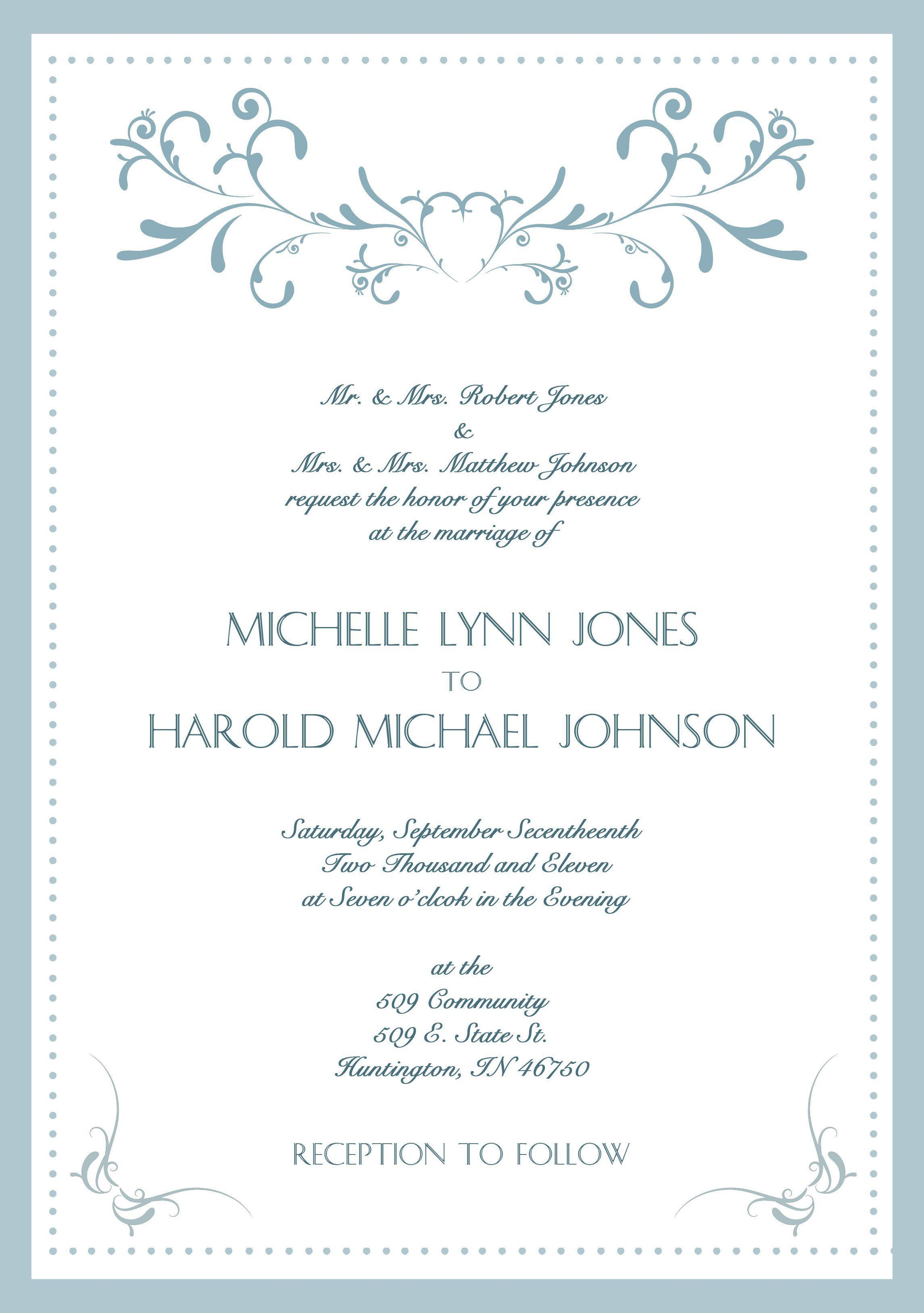 Sample Wedding Invitation Cards In English Sample Wedding Invitation Wording Wedding Invitations Examples Wedding Invitation Wording Formal