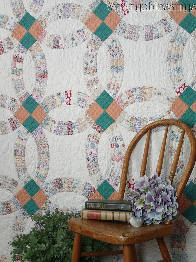 A & Excellent Vintage 30s Wedding Ring QUILT
