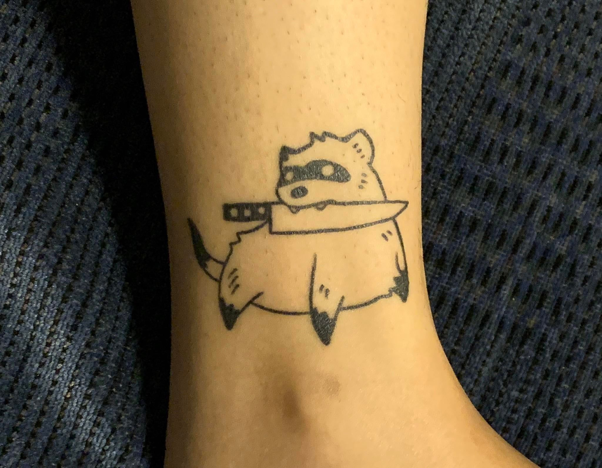 First tattoo, a smol but dangerous ferret. Fully healed