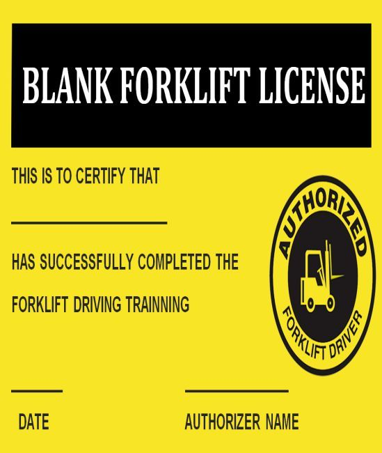 15forklift Certification Card Template For Training Providers