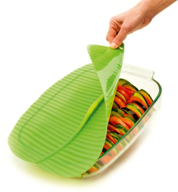 Banana Leaf Food Storage Lid Unique Unusual Kitchen Tool Accessory Gift For  Mom Mothers Day Reusable Green Silicone 9 Inch 13 Inch Rectangle