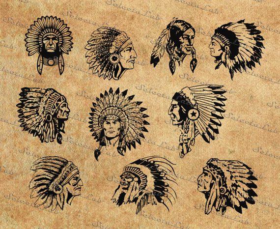 Digital SVG PNG native american , indian, headdress, head
