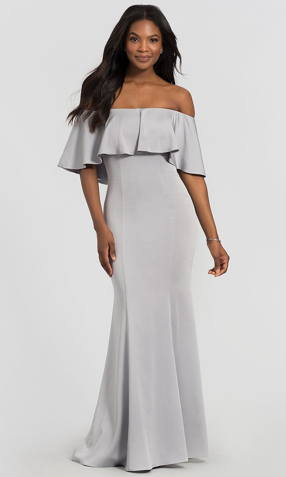 Flounce offtheshoulder long mob dress by kleinfeld