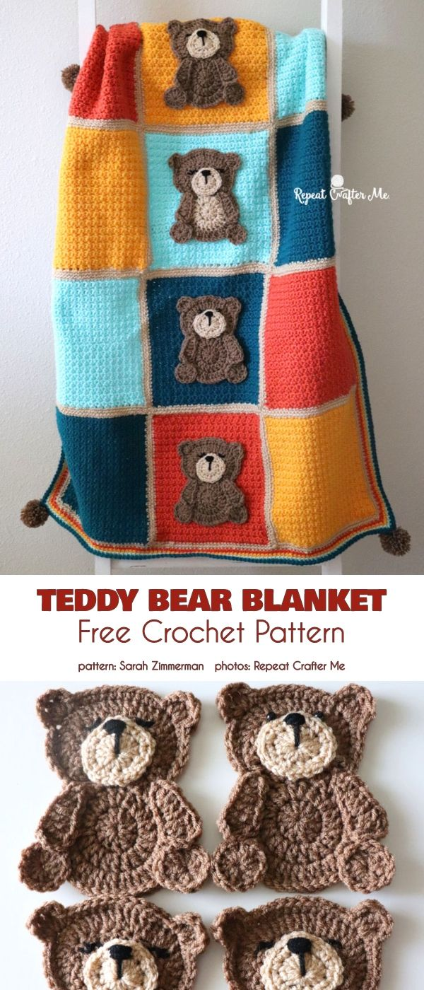 Blanket with a Bear Applique Free Crochet Patterns