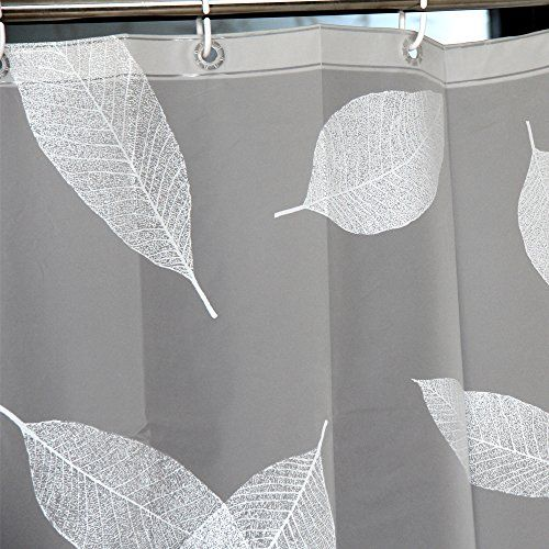 LynnWang Design 72x72 Inch PVC FREE Shower Curtain Or LinerWhite LeavesWith 12
