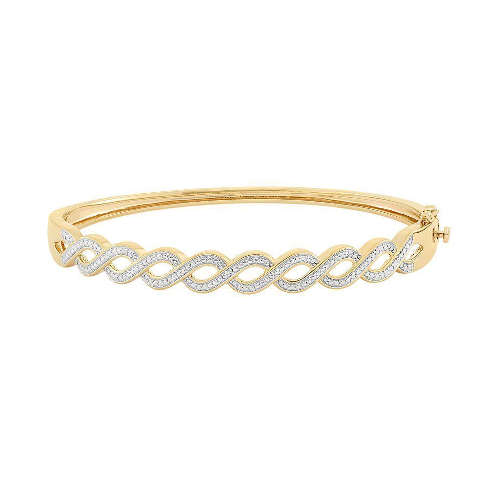K gold over silver hinged bangle bracelet womenus size