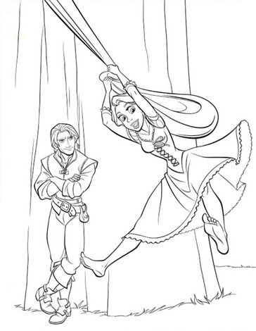 RAPUNZEL And FLYNN RIDER Coloring Page