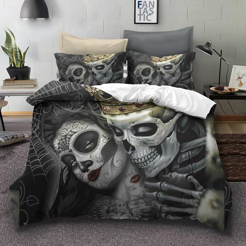 King Queen Sugar Skull Bedding Set, King And Queen Skull Bedding