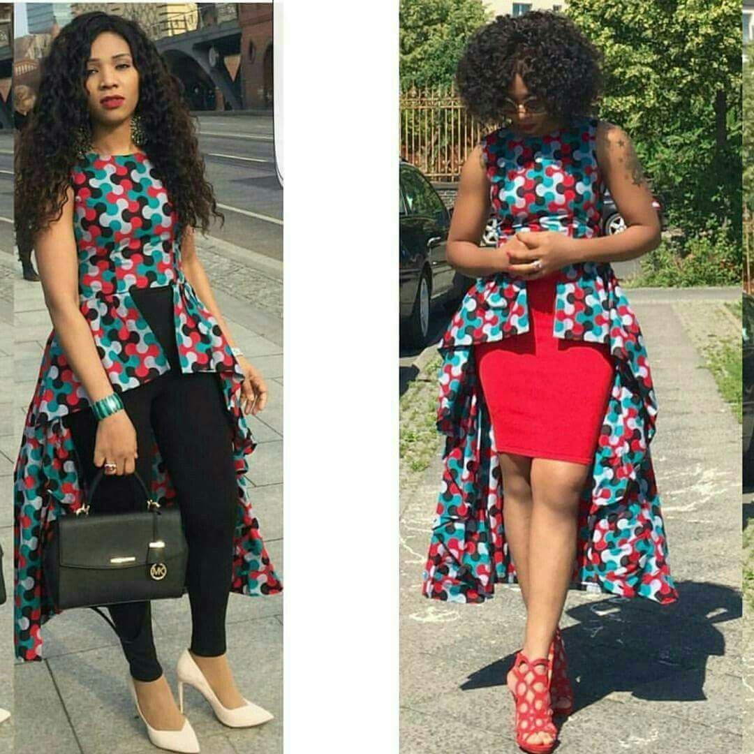Kitenge Top Long Tail African Tops Dresses For Women Fashion