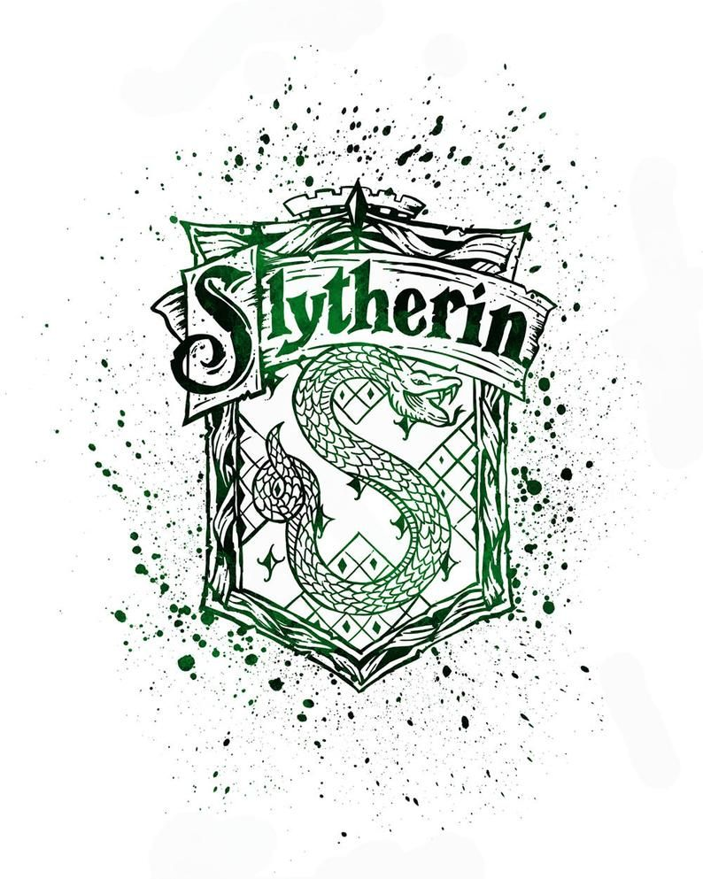Harry Potter Slytherin 02 House Silhouette Poster Watercolor Etsy Harry Potter Painting Harry Potter Wallpaper Harry Potter Background