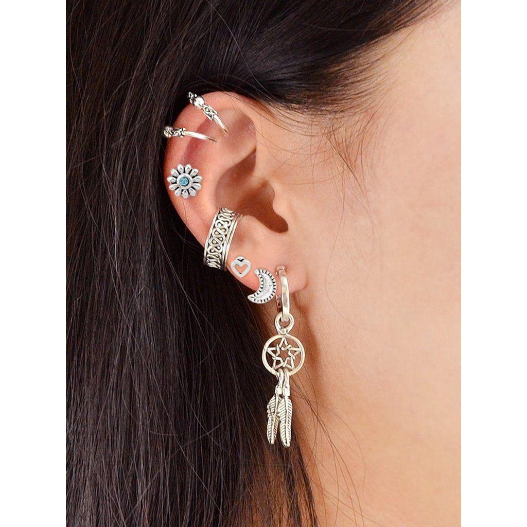 Moon Flower Feather Shape Stud And Cuff Earrings 7pcs Set